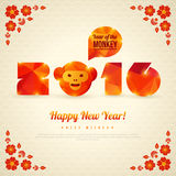 Happy New Year 2016 Greeting Card, Year of the. Monkey. Vector illustration. Symbol of 2016. Monkey Head with Triangles Pattern. New Year's Banner design Stock Photography