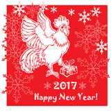 2017 Happy New Year greeting card the year of red Rooster. 2017 Happy New Year greeting card. Chinese New Year of the red Rooster. Vector Illustration Royalty Free Stock Images