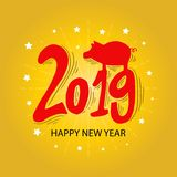 Happy new year 2019 greeting card. Yellow background stock illustration
