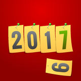 Happy New Year 2017. Greeting card. Yellow note paper concept. V Royalty Free Stock Image