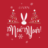 Happy New Year. 2018 greeting cards background with fir tree, rabbit, snow, snowflakes and lettering. Christmas decoration. Winter Holiday poster. Victorian Stock Photography