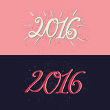 Happy new year 2016 greeting cards design element. Decorative ornamental hand drawn inscription.  Two colorfull banners. Happy new year 2016 greeting card Stock Image