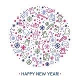 Happy new year greeting cards design Stock Photos