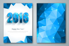Happy New Year 2016 greeting cards in polygonal Royalty Free Stock Image