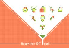 Happy New 2017 Year. Greeting Cards Template Stock Photo