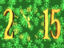 Happy new year greeting 2015 - clock and snowflakes. Illustration happy new year 2015 with clock and snowflakes on background Royalty Free Stock Photos