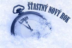 Happy New Year 2018 greeting in Czech language, Stastny novy rok text Royalty Free Stock Photos