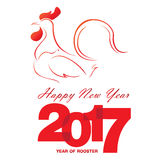 Happy new year greeting decoration background for 2017. Happy New Year with red rooster. Holiday background Stock Images