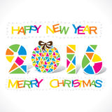 Happy new year 2016 greeting design. Creative happy new year 2016 or merry Christmas tree greeting design with triangle vector illustration