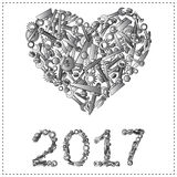 Happy new year greeting design from hand tools. Stock Images