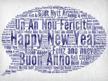 Happy New Year. Greeting in different languages written in watercolors on paper Stock Photo