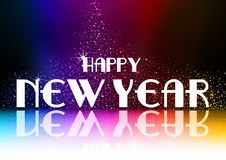 Happy New Year Greeting with Falling Glitters royalty free illustration