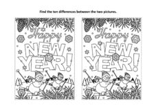 Happy New Year greeting find the differences visual puzzle and coloring page stock photos
