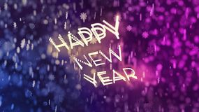 Happy New Year greeting in front of the purple and blue bokeh background royalty free illustration