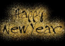 Happy New Year Greeting with Gold Glitters stock illustration
