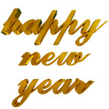 Happy new year greeting, golden 3d letters on white Stock Image