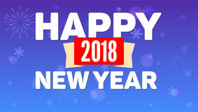 2018 Happy New Year greeting horizontal poster on night sky backdrop. Fireworks, snow-flakes on blue background. Paper. 2018 Happy New Year greeting horizontal Stock Image