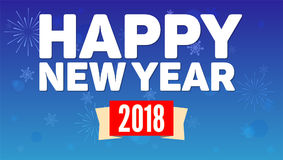 2018 Happy New Year greeting horizontal poster on night sky backdrop. Fireworks, snow-flakes on blue background. Paper. 2018 Happy New Year greeting horizontal Royalty Free Stock Photography