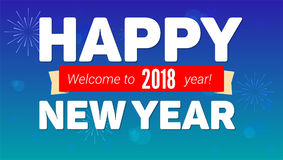 2018 Happy New Year greeting horizontal poster on night sky backdrop. Fireworks, snow-flakes on blue background. Paper. 2018 Happy New Year greeting horizontal Stock Photography