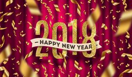 Happy New year 2018 greeting illustration. Glitter gold numbers and golden foil confetti on a red curtain background stock illustration