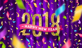 Happy New year 2018 greeting illustration. Glitter gold numbers and multicolored confetti on a violet curtain background royalty free illustration