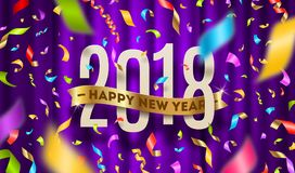 Happy New year 2018 greeting illustration. Year numbers with gold ribbon and multicolored confetti on a violet curtain background stock illustration