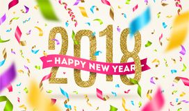 Happy New year 2018 greeting illustration Stock Images