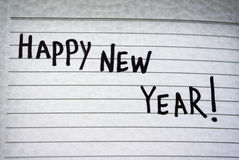 Happy New Year. Greeting inscription in a notebook Happy New Year Stock Image