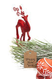 Happy new year greeting message, christmas deer, christmas tree Stock Photography
