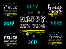Happy New Year 2017 Greeting in Multiple Languages. Royalty Free Stock Photos