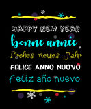 Happy New Year 2017 Greeting in Multiple Languages. Stock Photos