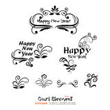 Happy new year greeting with number 2016  and curl Collection of. Design elements. illustration Stock Image