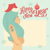 Happy New Year! Greeting postcard or invitation with Snow Maiden. Stock Photos