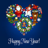 Happy New Year greeting poster in heart shape. Happy New Year poster. Heart symbol of vector christmas ornaments holly wreath, santa with gifts bag, snowman Stock Photo