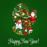 Happy New Year greeting poster in mitten shape. Happy New Year vector poster, greeting card with symbol of winter christmas mitten combined christmas tree Stock Photography