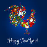 Happy New Year greeting poster, Rooster symbol. Happy New Year poster. Rooster cock 2017 new year symbol of christmas holiday santa gifts bag, snowman, reindeer Stock Images
