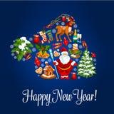 Happy New Year greeting poster. Santa hat symbol Royalty Free Stock Photography