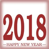 Happy New Year 2018 greeting RED with frosted glass illusion effect Illustration with gradients 3D illusion space. Happy New Year 2018 greeting RED with frosted vector illustration