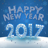 Happy new year 2017 greeting on snow background. Happy new year 2017 greeting with many flakes and decoration on snow background vector illustration