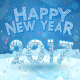 Happy new year 2017 greeting on snow background Stock Image