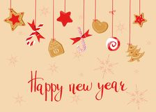 Happy new year greeting with sweets - ginger cookies and lollipops. royalty free illustration