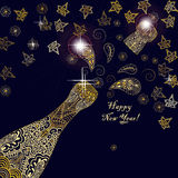 Happy new year 2017 greeting template card or poster design with shining glittering gold champagne explosion bottle and place for Royalty Free Stock Image