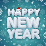 Happy new year greeting text, 3d snow Stock Images