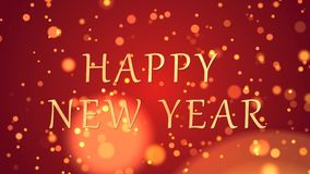 Happy New Year Greeting text with sparkling particles shiny background stock footage
