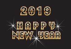2019 Happy New Year Greeting Text Vector. 2019 Happy New Year Greeting Vector Design Illustration vector illustration