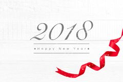 2018 Happy New Year greeting text on white wood background royalty free stock photos