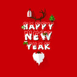 Happy New Year greeting type design with christmas elements Royalty Free Stock Photo