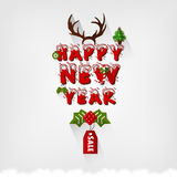 Happy New Year greeting type design with christmas elements Stock Photography
