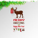 Happy New Year greeting type design with christmas elements. Happy New Year typography with christmas elements stock illustration