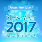 Happy New Year greeting vector design template. New Year 2017. New Beginnings. Aqua and blue colors blurred background vector illustration